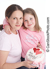 two sweethearts - mother and daughter with mothersday tart