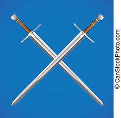 Two swords crossed - Silver metal sword crossed with brown...