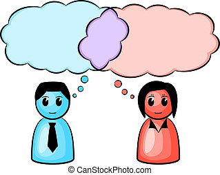 two symbolic figures (man and woman) with the same thought