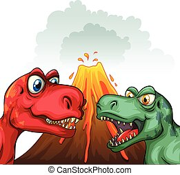 Two T-Rex fighting each other