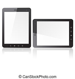 Two tablet PC computer with blank screen