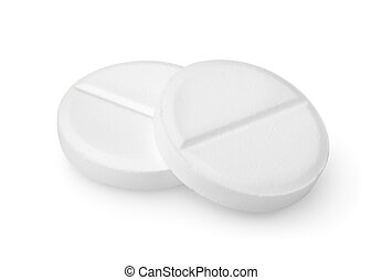 Two tablets aspirin Path - Tablet isolated on a white...