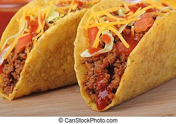 Two Tacos Closeup