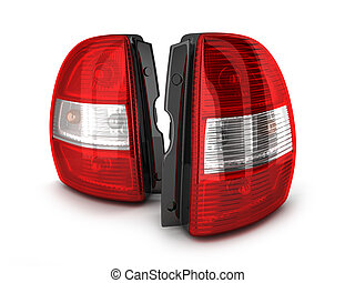 Two taillight car - Taillight car on white background. 3d...