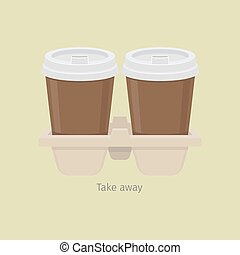 Two Take Away Paper Coffee Cups in Carton Holder