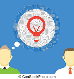 Two talking businessmen with abstract speech cloud of different icons