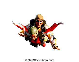 Two tandem skydivers in action - Portrait of two tandem ...