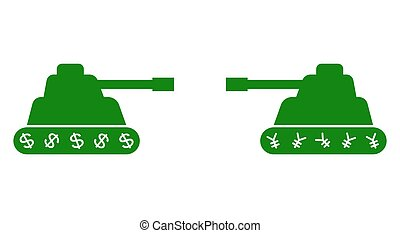 Two tank facing each other vector illustration