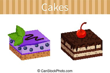 Two Tasty Cheesecakes Posters Vector Illustration