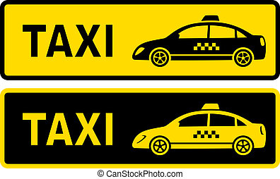 two taxi signs