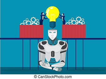 two technicians constructing or assembling together businessman input brain to robot concept illustrator