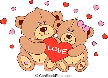 Two teddy bear holding a heart Vector characters Valentine's Day.