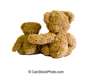 two teddy bears back isolated on white