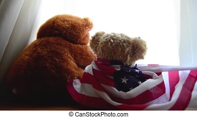 two teddy bears one with american flag looking thru the...