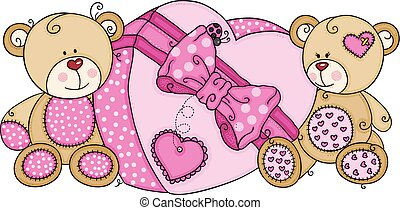 Two teddy bears with big pink heart gift box