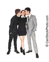 Two teen boys kissing the sister
