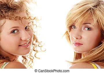 Two teen girlfriends