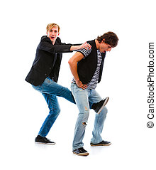 Two modern teenage boys shaking hands  isolated on white  Two