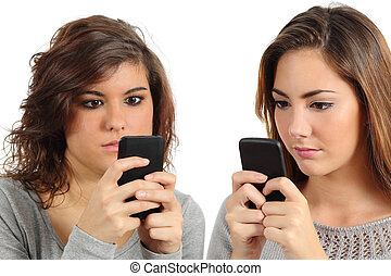 Two teenagers addicted to the smart phone technology...