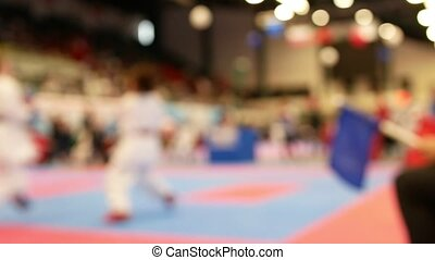 Two teenagers fighting at the karate championship - blurred...