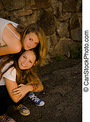 Two Teens Happy Smiling