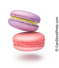 two tender macaroons on a white background
