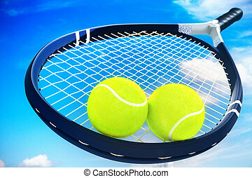 Two tennis balls and racket on blue cloud sky background.