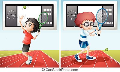 Two tennis players on the field