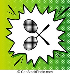 Two tennis racket sign. Black Icon on white popart Splash at green background with white spots. Illustration.