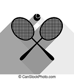 Two tennis racket with ball sign. Vector. Black icon with two flat gray shadows on white background.