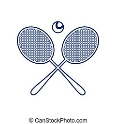 Two tennis racket with ball sign. Vector. Flat style black icon