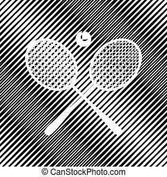 Two tennis racket with ball sign. Vector. Icon. Hole in moire ba