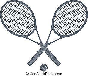 Two tennis rackets with a ball for tennis on a white ...