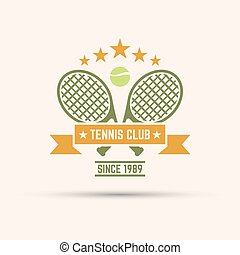 two tennis racquets and ribbon for text isolated vector emblem template