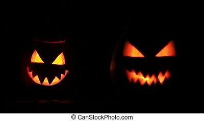 Two terrible pumpkin faces, holiday, October 31, Halloween