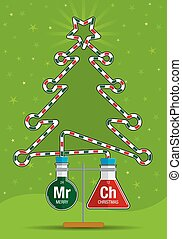 Two test tubes with red and green liquids inside connected by a glass tube that forms the silhouette of a Christmas tree - Vector image