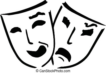 theatre masks - two theatre masks over white