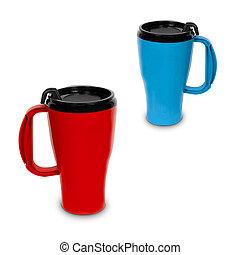 two thermal mugs