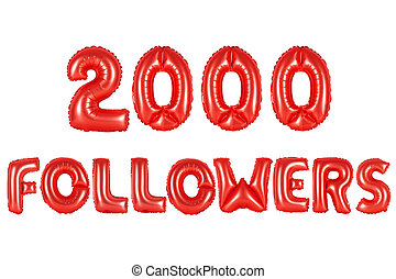 two thousand followers, red color
