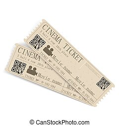 Two tickets to the cinema on a white background. Vector illustration