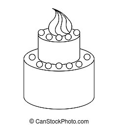 Two tier birthday cake icon, outline style