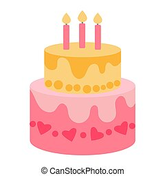 Two-tier festive cake with candles in a flat style on a white background. Delicious yellow and pink cream cake for a party. Sticker for childrens party design, icon for a party invitation with a treat
