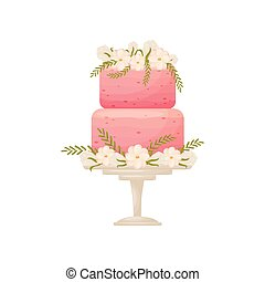 Two-tier pink cake on a white stand with a leg. Vector illustration on white background.
