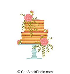 Two-tier striped caramel cake on a blue stand with a leg. Vector illustration on white background.