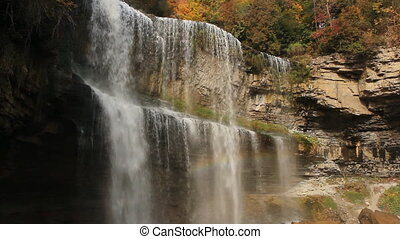 Two tiered waterfall.