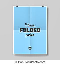 Two times folded poster template