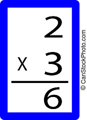 two times three multiplication card isolated over a white...
