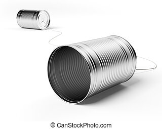 Two tin cans attached with string isolated on a white ...
