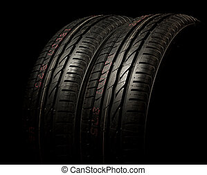 Two tires close up