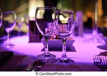 two., tisch, abendessen, dekoriert, romantische
